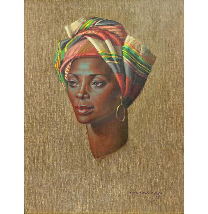 VLADIMIR TRETCHIKOFF (1913-2006); oil on canvas, portrait study of an African woman.