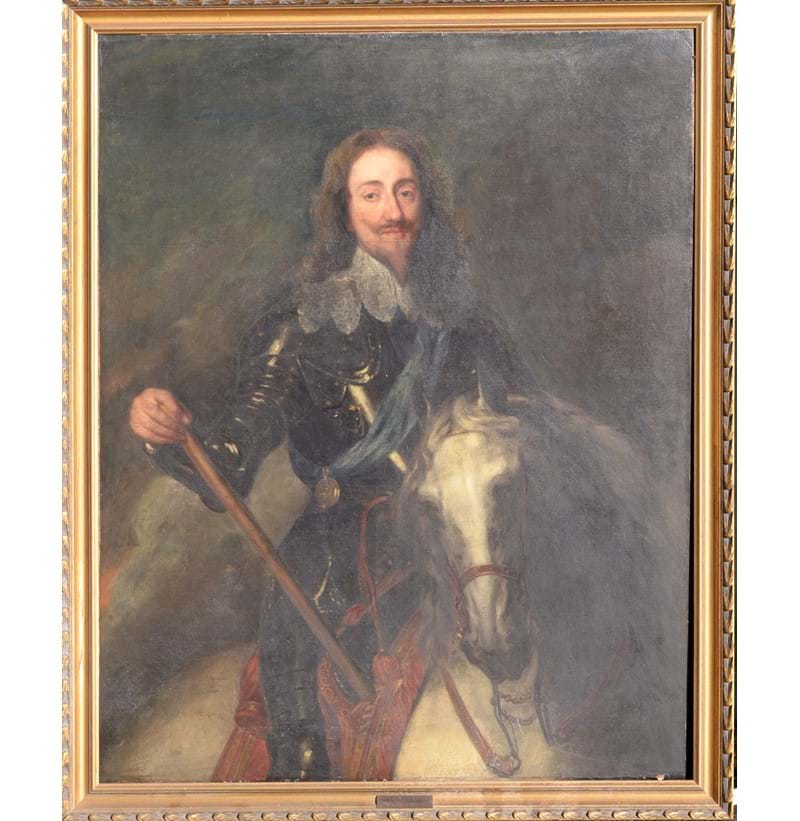 SCHOOL OF SIR ANTHONY VAN DYCK (1599-1641); oil on canvas, Charles I on horseback.