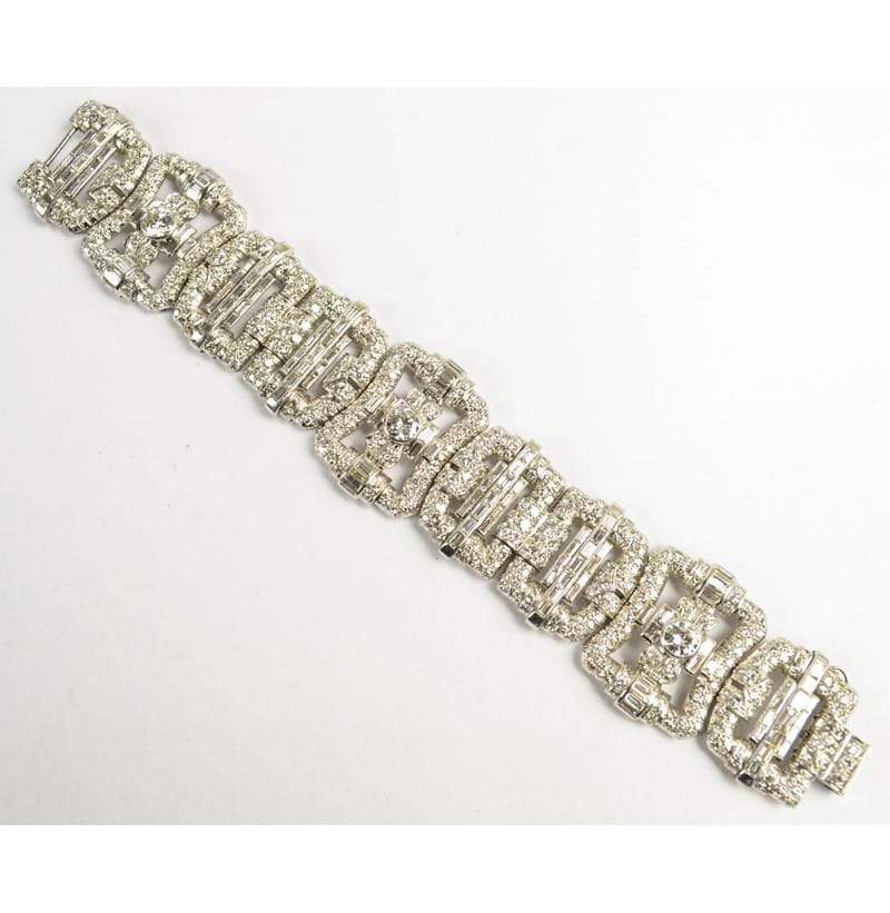 An Art Deco style white metal and diamond set cuff bracelet.