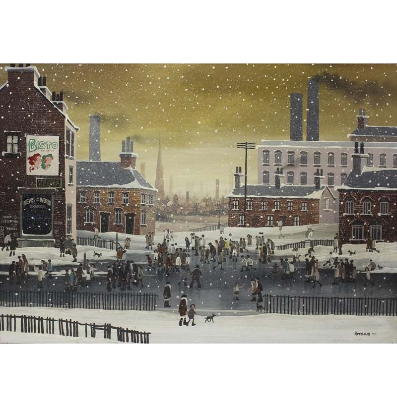 """BRAAQ"" BRIAN SHIELDS (1951-1997); oil on board, snowy Liverpool street scene with Anglican Cathedral in skyline."