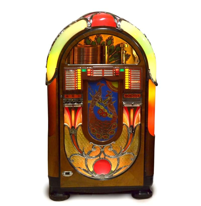 An exceptionally rare 1941 Wurlitzer Peacock jukebox.