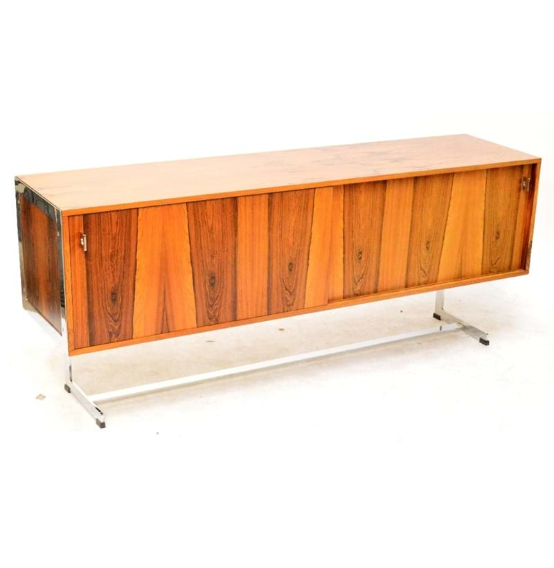RICHARD YOUNG FOR MERROW ASSOCIATES; a 1970 rosewood veneered and chrome sideboard.