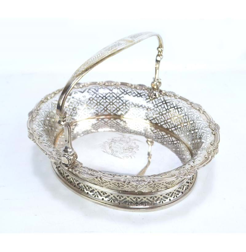 PETER ARCHAMBO I; a fine George II hallmarked silver oval basket London 1736.