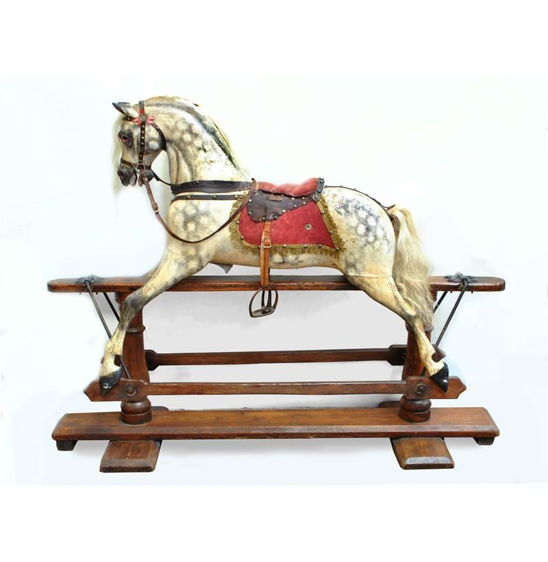 FH AYRES OF LONDON; a good and rare swivel head rocking horse in dappled grey with white mane.