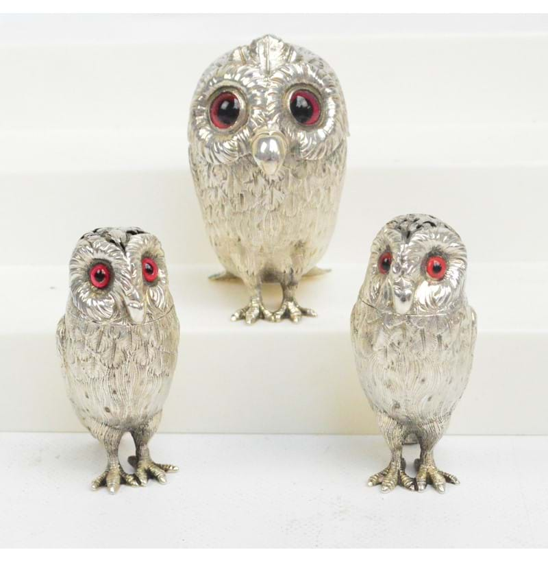 A rare leather cased Victorian hallmarked silver three piece cruet set, each piece in the form of an owl, Richards & Brown, London 1865 and 1867.