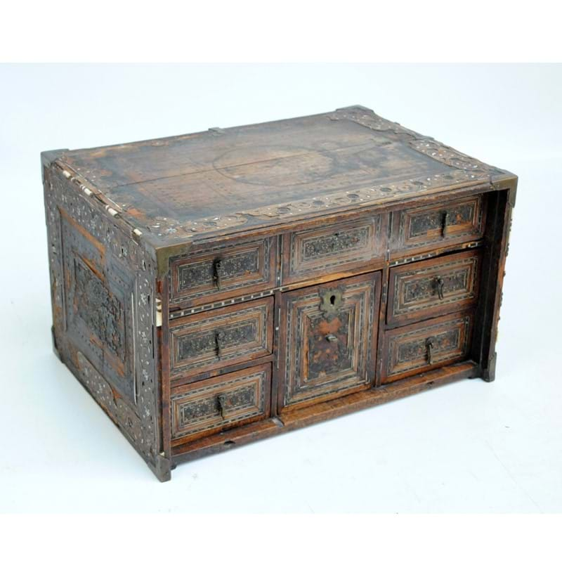 An 18th century Indo-Portuguese table top cabinet.
