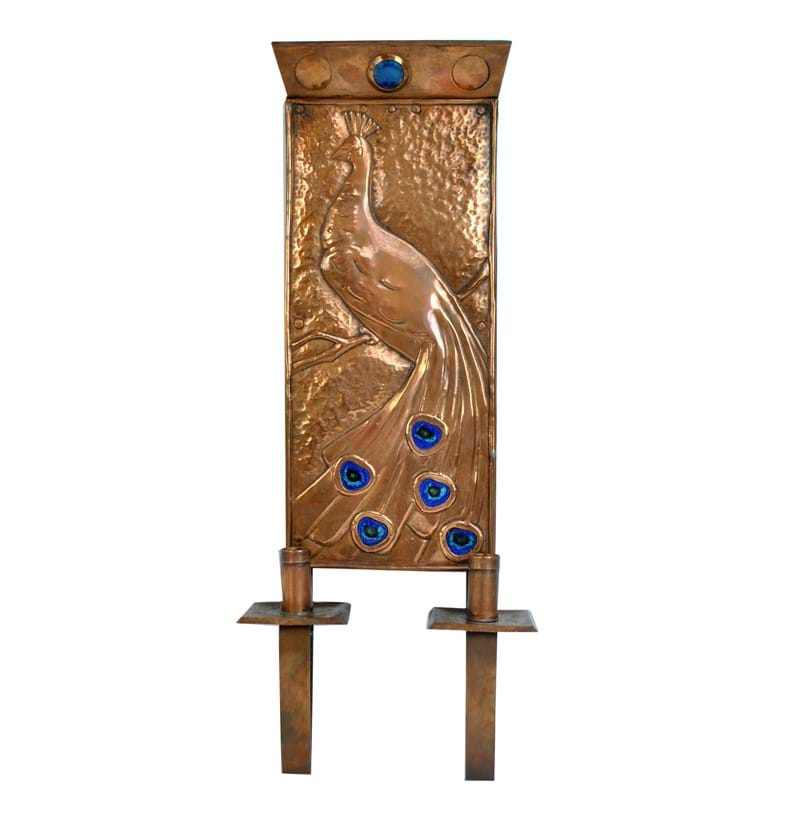 An Arts and Crafts copper and enamel decorated wall sconce.