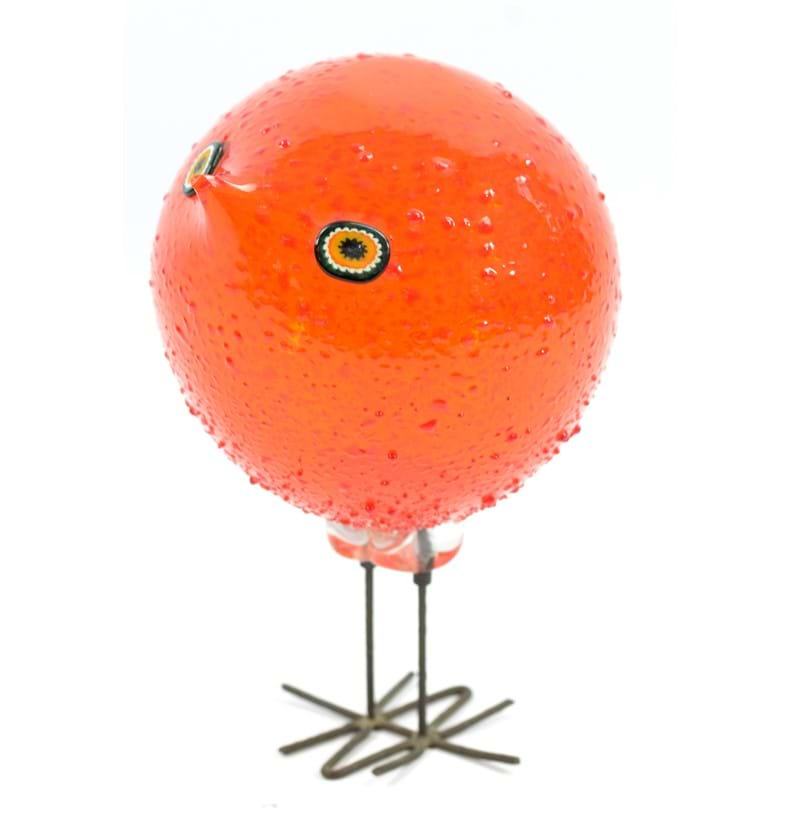 ALESSANDRO PIANON FOR VISTOSI; a 'Pulcini' orange glass bird with copper legs
