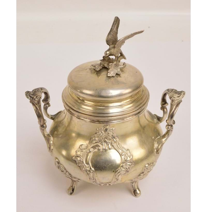 A post 1888 German silver etrog box.