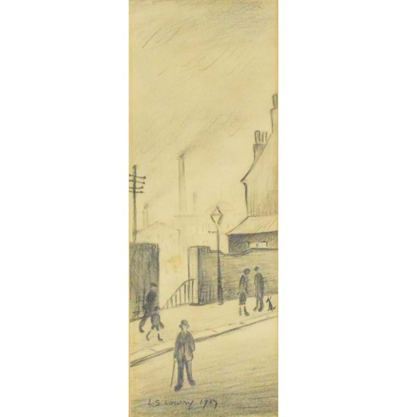 "LAURENCE STEPHEN LOWRY (1887-1976); a pencil study ""Stockport Street Scene""."