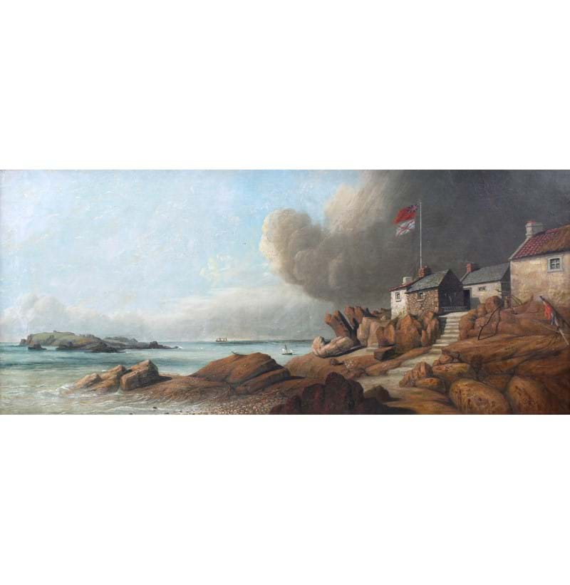 PHILIP JOHN OULESS (1817-1885); oil on canvas, Jersey coastal scene.